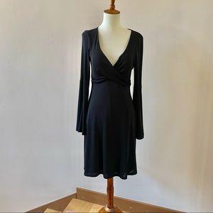 CACHE DRESS BLACK LONG BELL SLEEVE PULL ON SZ 6